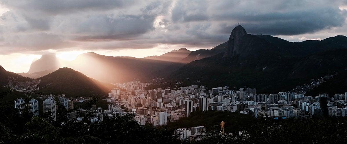 Rio de Janeiro city view under clouds