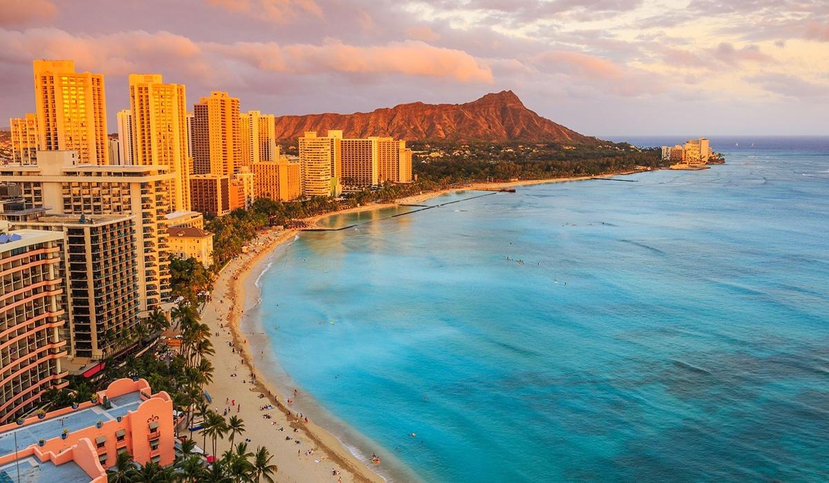 Honolulu Aerial shot of island cityscape and beach