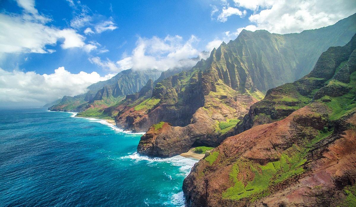 Hawaii aerial shot of island