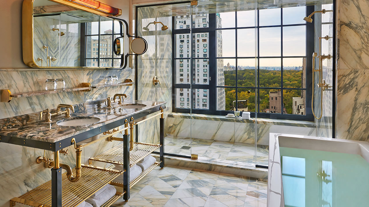 Viceroy Suite 57 Master Bathroom view of New York City