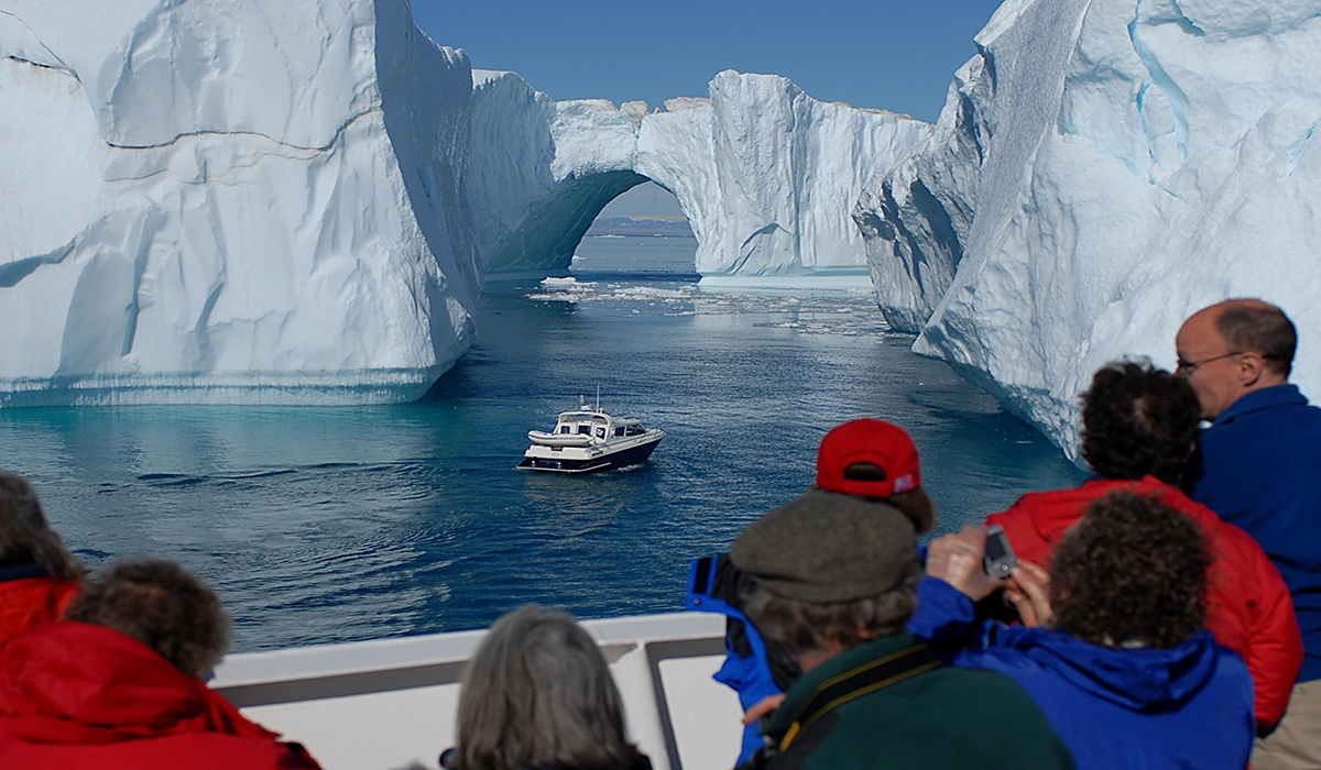 Zegrahm Expeditions Iceland Tour boat on water and icebergs