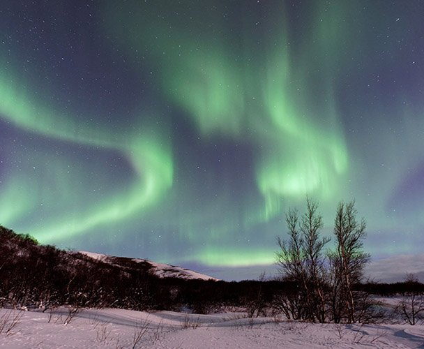 Aurora Borealis, Northern Lights Winter Sky