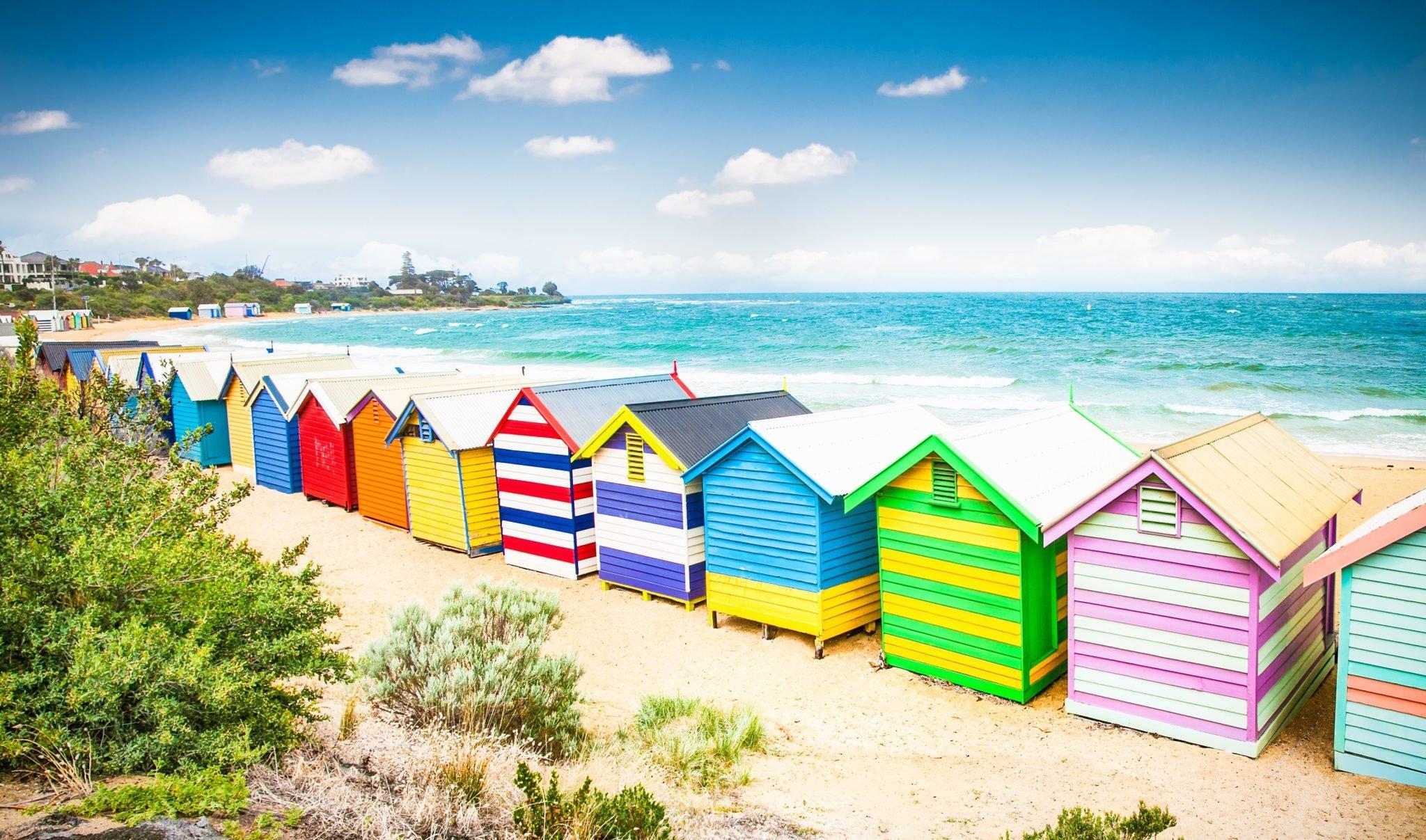 Colourful buildings and Blue Sky at Brighton Beach Australia