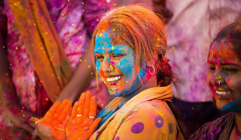 India Holi Festival colorful gulal powder