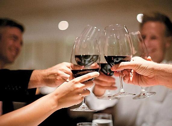 Wine glasses cheers Paul Gauguin Cruise