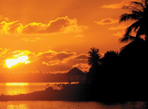 Orange Island Sunset French Polynesia