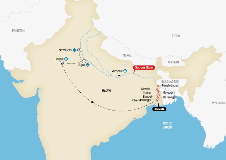 India Map New Delhi to Kolkata Uniworld Cruises