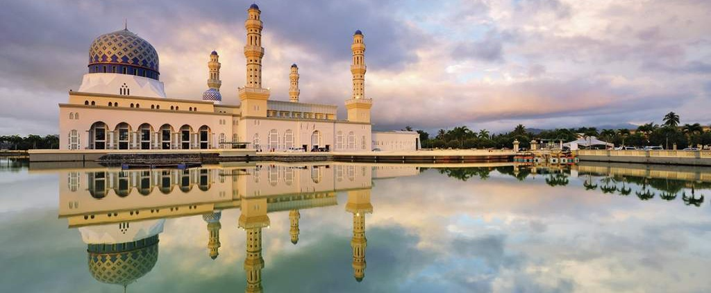 Kota Kinabalu Malaysia City Mosque sunset reflection