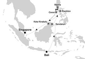 Silversea Bali to Singapore map